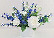 White Roses and Blue Flowers Silk Floral Arrangement White Oval Ceramic Planter