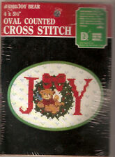 Christmas Counted Cross Stitch Kit: Joy Bear - with plastic framing hoop