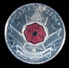2004 Canada  25 cent  Remembrance Poppy   UNC. from roll