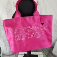 Victorias secret sequin pink tote gym school bag travel luggage weekend heart
