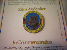 1981 Vintage Lapel Brooch Pin on Card 300 Years of Germans in America