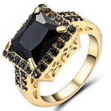 Big Stone Black Sapphire CZ Gems Wedding Ring 18K Yellow Gold Filled Size 6