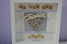 Personalised scrabble handmade Anniversary wedding MR AND MRS gift frame