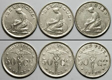 A404 Belgica lote 3 monedas 50 C, 1923 1925 1928 - Belgium, 3 coins set