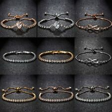 Chic Adjustable Crystal Heart Beads Bracelet Bangle Rose Gold Jewlery Women Gift