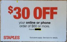 STAPLES Coupon $30 OFF $60 ONLINE OR PHONE ORDER EXPIRES 7/21/2018