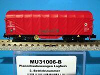 Modellbahn Union MU31006-B DB Planenhaubenwagen Logserv grün 2.Betriebsnummer
