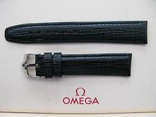 Brand New 18mm Black Leather Strap & Vintage 16mm Omega Stainless Steel Buckle
