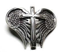 Nocona Western Womens Belt Buckle Wings Cross Rhinestones Silver