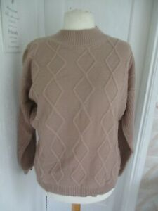 In The Style Beige Cable Knit High Neck Jumper Size 14-16 BNWT