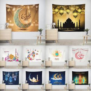 Eid Mubarak Decor Wall Hanging Tapestry Moon Star Muslim Festival Ramadan Dec VT