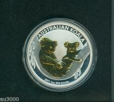 2011 ( 2011-P ) $1 AUSTRALIA GILDED GILT KOALA 1 Oz SILVER with COA