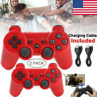 2PCS Wireless Bluetooth Video Game Controller Pad for PS3 Playstation 3 Red US
