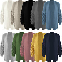 NEW Womens Bobble Knit Sleeve Cardigan High Street Winter Ladies Jumper Sweaters