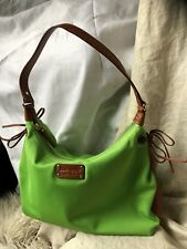 Kate Spade Neon Green Purse Medium Nylon Satchel With Brown Leather Accent LUXE!