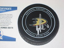 JOHN GIBSON Signed Anaheim DUCKS Official GAME Puck w/ Beckett COA