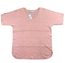 LOFT Women's Short Sleeve Linen Cotton Blend Blouse Peach New With Tags Medium