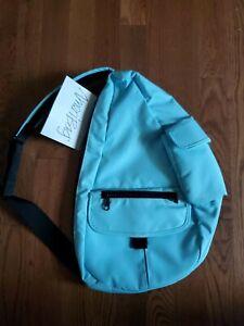 AmeriBag Classic Distressed Nylon Healthy Back Bag small Powder Blue