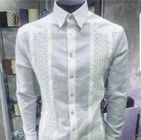 Men Chacabana Luxury Guayabera Hombre European Linen Cuban Shirt handmade