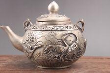 Exquisite china hand carving Cupronickel bird teapot & qianlong Mark