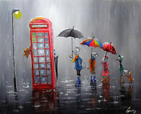 100%Hand-painted Oil Painting rainy Landscape Animals  art16*20inch Decoration