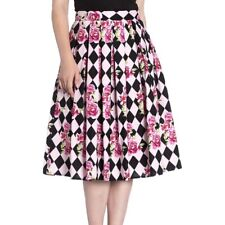 Hell Bunny Harlequin Skirt Pink Pleated Floral Roses Diamonds 50's Pin Up Small