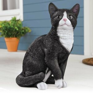 Sitting Black & White Tuxedo Kitty Cat Realistic Detail Garden Statue