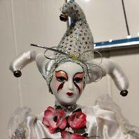 """Vintage Silver Sequins Flowers Porcelain Harlequin Doll Jester Figurine 18"""""""