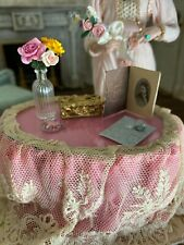 Vintage Miniature Dollhouse Artisan Lace Glass Topped Table of Delightful Items