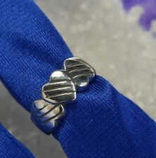 Three Tripple Heart Mom Dad Child 0.925 Sterling Silver Estate Ring Size 2.75