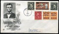 UNITED STATES 1966 ABE LINCOLN  COMBINATION FIRST DAY COVER  GREAT FRANKING
