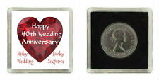LUCKY SILVER SIXPENCE COIN RUBY 40TH WEDDING ANNIVERSARY GIFT KEEPSAKE