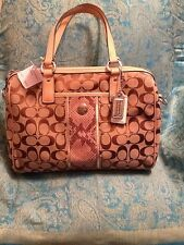 NWT Coach Sig Stripe Python Satchel Retail $358 **SEE ALL MY ITEMS**