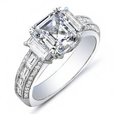 1.95 Ct. Asscher Cut, Baguette & Round Diamond Engagement Ring 14K D,VS2 GIA NEW