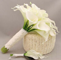 12×Pure White Artificial Calla Lily Silk Real Touch Fake Flower Wedding Bouquet