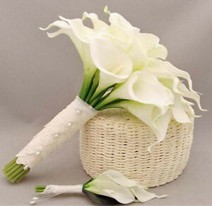 10*Pure White Artificial Calla Lily Real Touch Silk Flower Wedding Bouquet Decor