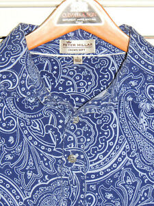 "PETER MILLAR Crown Soft Cotton/Silk Blue Paisley S/S polo slim L (45"" chest)"