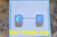 *UK* Colourful 925 Silver Plated Tropical Blue Fire Opal 7mm Stud Earrings