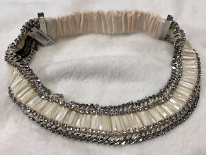"Henri Bendel ""Palm Beach Statement"" Headband Silver & Ivory NWT MSRP $168"