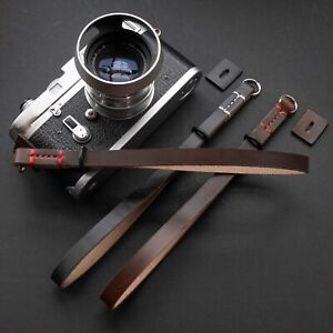 Horween Leather Camera Wrist Strap (Black or Brown) - Choice of Stitching Colour