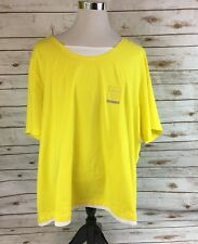 Catherines Pullover Athletic Shirt Womens 5X Suprema Cotton Neon Yellow Stretch