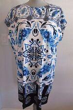 NWT MELY NEW YORK XL BLUE/WHITE PAISLEY PRINT TUNIC TOP / SHORT DRESS $102.00