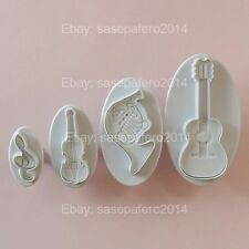 Musical Instruments guitar violin plunger cookie cutter with stamp 4 pieces set