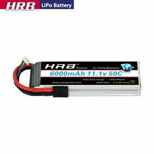 HRB 11.1V 3S 6000mAh LiPo Battery 50C Traxxas for RC Car Truck Boat  Buggy Drone