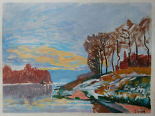 Fine Impressionist landscape unique painting, Rare unique art, Signed Sisley
