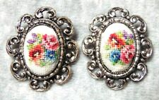 Vintage Classic Silver Tone Needlepoint Floral Clip On Earrings
