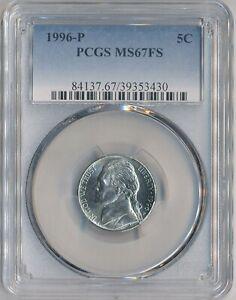 1996-P  Jefferson Nickel 5C PCGS MS-67 FULL STEPS  - Low Pop of 48 ITEM # 5 RARE