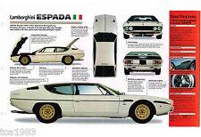LAMBORGHINI ESPADA SPEC SHEET / Brochure / Catalog: 1971,1972,1973,.......
