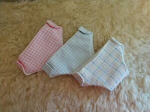"""3 flannel, lined diapers, blue  & pink~ made for Bitty Baby Twins 15"""" dolls"""