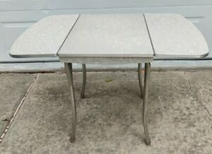 Retro Kitchen Table Mid Century Modern Cracked Ice Formica Metal Legs Drop Leaf